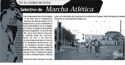Selectivo de Marcha Atlética en Arica y posible programa de Marcha en Ruta en Iquique